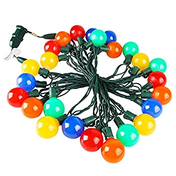 Uzexon Heavy Duty Commercial G40 Globe Led String Lights,17Ft 25 LED Outdoor Colored Christmas Lights,Patio Garden Seasonal Festive Light,Home Decor Party Wedding Mood Lighting