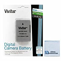 Vivitar EN-EL14A EN-EL14 2300mAh Replacement Li-ion Battery For Nikon D5300, D5200, D3100, D5100, D3300, D3200, D5500 Coolpix, P7000, P7100, P7700, P7800 Cameras & More + eCost Microfiber Cleaning Cloth