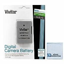 Vivitar EN-EL14A EN-EL14 2300mAh Replacement Li-ion Battery For Nikon D5300, D5200, D3100, D5100, D3300, D3200, D5500 Coolpix, P7000, P7100, P7700, P7800 Cameras & More + eCost Microfiber Cleaning Cloth