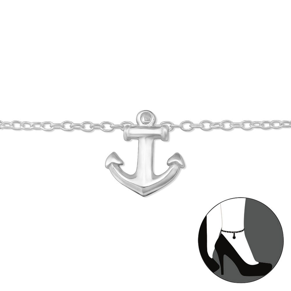 Atik Jewelry Silver Anchor Anklet
