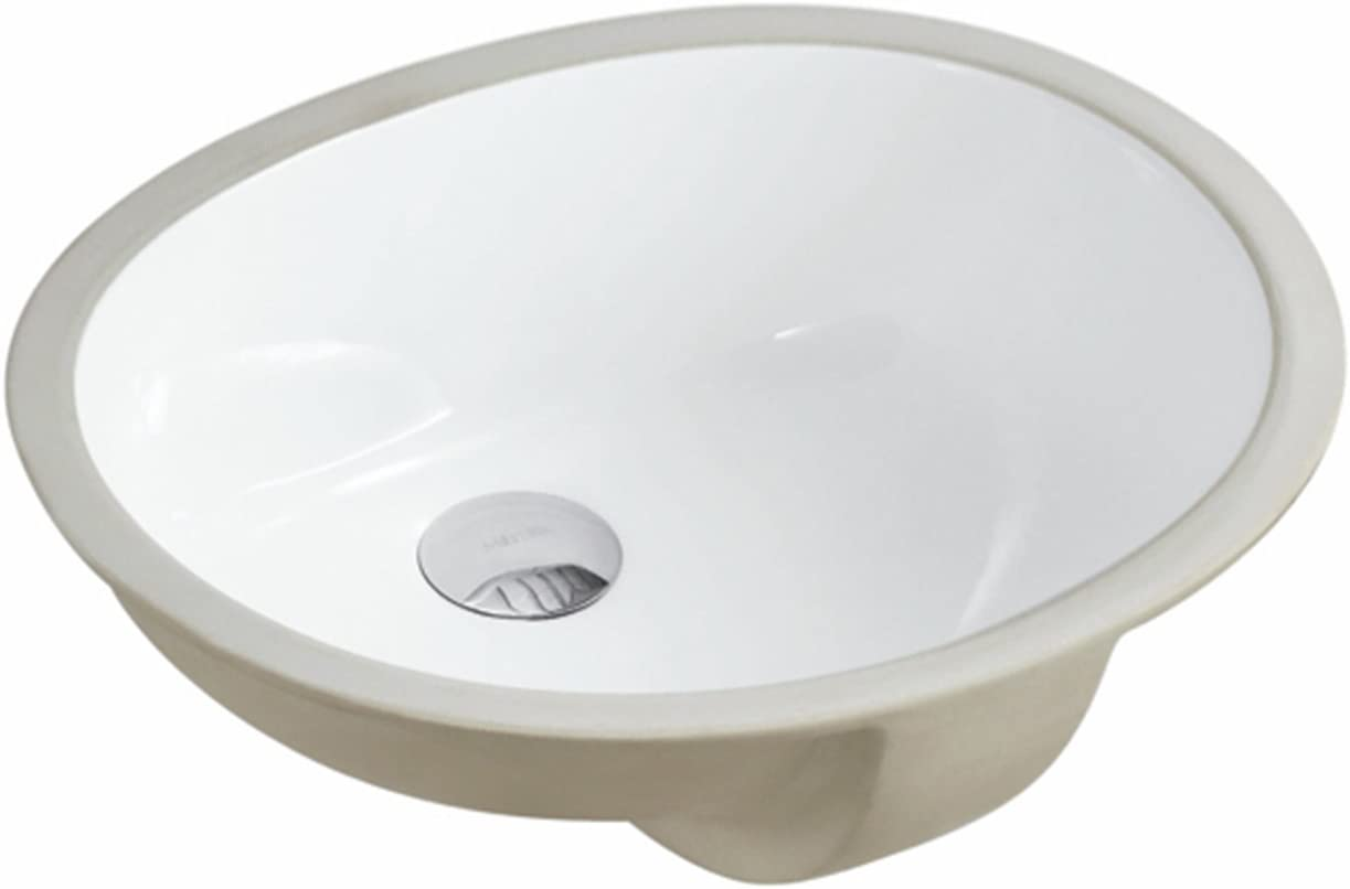 KINGSMAN 17.5 INCH Durable Oval Undermount Vitreous Ceramic Lavatory Vanity Drop-in Bathroom Sink – Pure White 17.5 INCH