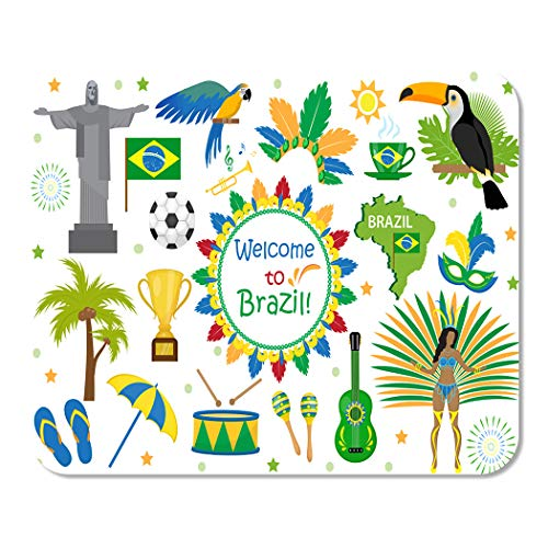 Makkier Mouse Pad Mat Brazilian Carnival Icons Flat Style Brazil Culture Illustration Mousepad Non-Slip Game Desk Computers Laptop Smooth Surface Durable Lightweight Mouse Pad 7.9 X 9.5 Inch