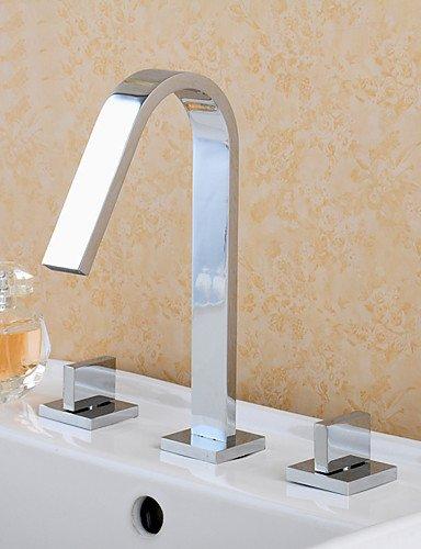 faym–poliert chrom Deck montiert Badezimmer Dual Griffe Waschbecken Mixer Wasserhahn Drei Löcher mit kaltem und heißem Wasser