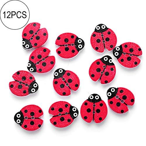 Cotowin 12Pcs/Set Mixed Ladybug 2 Holes Wooden Sewing Buttons Craft Scrapbooking DIY - Red Beetle