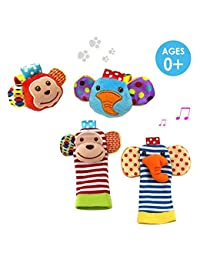 Daisy 4 Packs Adorable Animal Infant Baby Wrist Rattle & Foot Finder Socks Monkey and Elephant Developmental Toys Set - Wonderful Baby Gift BOBEBE Online Baby Store From New York to Miami and Los Angeles