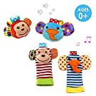 Daisy 4 Packs Adorable Animal Infant Baby Wrist Rattle & Foot Finder Socks Monkey and Elephant Developmental Toys Set - Wonderful Baby Gift