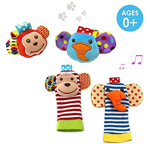 Daisy 4 Packs Adorable Animal Infant Baby Toy Set Bell Wrist Rattle & Foot Finder Socks – Monkey and Elephant