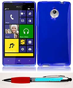 Accessory Factory(TM) Bundle (the item, 2in1 Stylus Point Pen) For HTC 8XT Frosted TPU Cover Case - Blue