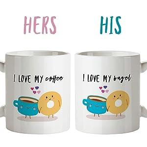 Couple Mugs, Couple Coffee Mugs, Coffee Meets Bagel, Bagel Gift, Couple Mug Set, Coffee Meet Bagel, Coffee Bagel, His and Hers Mugs, tea mug, coffee mug, 11oz, 15oz, gift