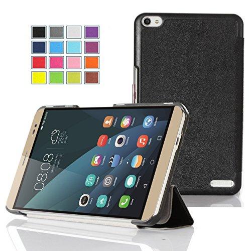 Huawei Mediapad X2 Hülle,IVSO Hohe Qualität PU-Leather Slim- Smart Tasche Case Cover - mit Standfunction Schutzhülle NUR geeignet für Huawei Mediapad X2 17,8 cm (7 Zoll) Tablet-PC, Schwarz