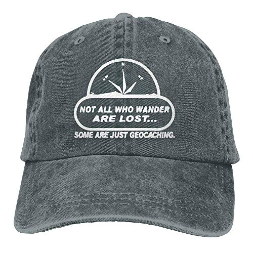 Missyouys Not All Wander Lost Geocaching Unisex Cotton Washed Denim Visor Caps Adjustable Natural