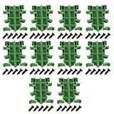 10sets PCB DIN C45 Rail Adapter Circuit Board Mounting Bracket Holder Carrier, 35mm DIN Rail (Green)