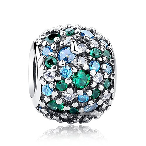 Everbling Ocean Mosaic Pave with Mixed Green and ClearCZ 925 Sterling Silver Bead Fits European Charm Bracelet