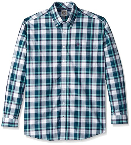 Cinch Men's Classic Fit Long Sleeve Button One Open Pocket Plaid Shirt, Pine Green/Purple, L