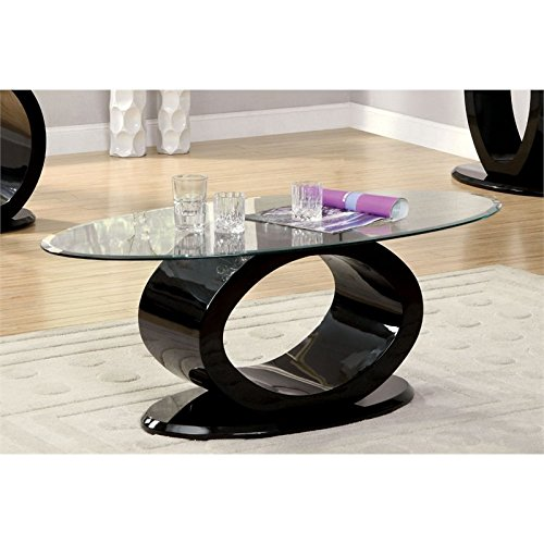Furniture of America IDF-4825BK-C Contemporary Glass Top Coffee Table, 54