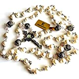 elegantmedical HANDMADE Bali 925 Sterling Silver Bead +AAA 8-9mm Real Pearl Catholic Rosary NECKLACE Cross Box
