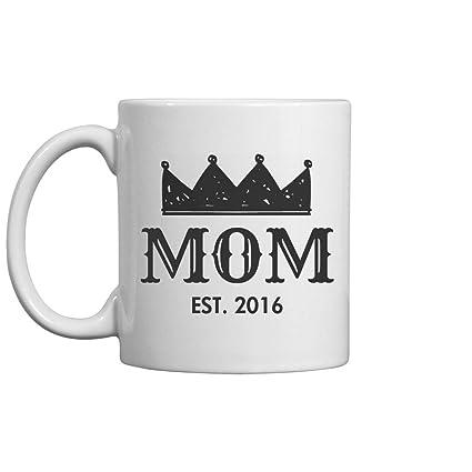 MOM Est 2016 White-Black All Over Coffee Mug
