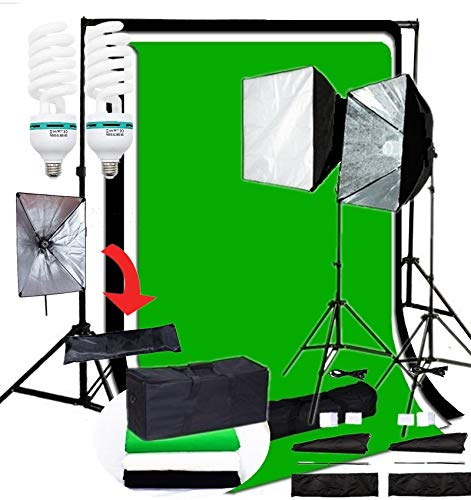 CanadianStudio Pro Quick Setup Continuous Light Photo 1000 WATT OUTPUT Rapid Softbox Fluorecent Video lighting backdrops Kit VL-50703