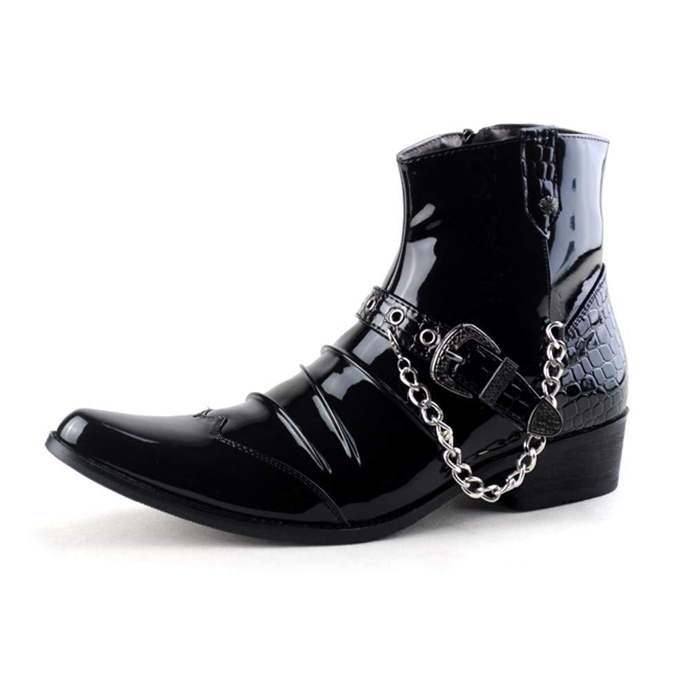 SHENNANJI Herrenmode Stiefeletten Hohe Stiefeletten Lässige Rostfreie Metallkette Spitz Seitlichem Reißverschluss Lackleder Stiefel
