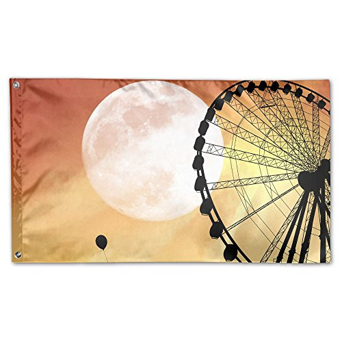 Jmirelife Garden Flag - Ferris Wheel With Moon Decorative Co