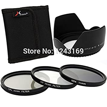 lesilverskys (TM) 5 in1 UV, CPL ND4 Filtro + Parasol de 72 mm con ...