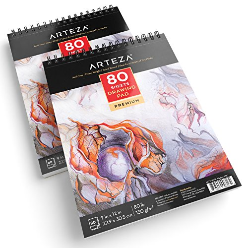 ARTEZA 9X12 Drawing Pad, Pack of 2, 160 Sheets (80lb/130g), Spiral Bound Artist Drawing Books, 80 Sheets Each, Durable Acid Free Drawing Paper, Ideal for Kids & Adults, Bright White by ARTEZA (Image #3)