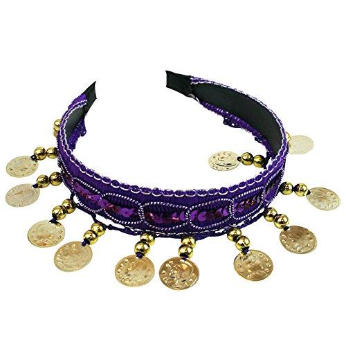 Purple Belly Dance Tribal Gold Coins Headband Gypsy Jewelry Halloween (Halloween Gypsy Costume)