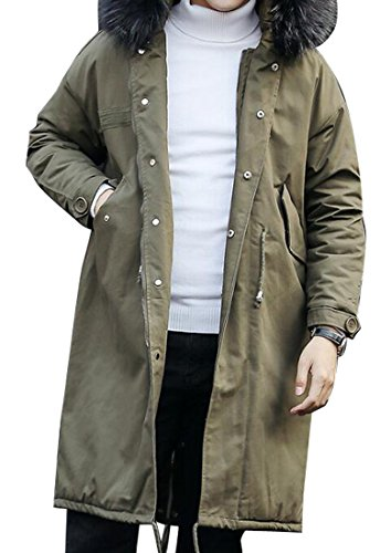 LD Mens Mid Long Fur Hooded Zip Up Jacket Quilted Coat Armygre 3XL