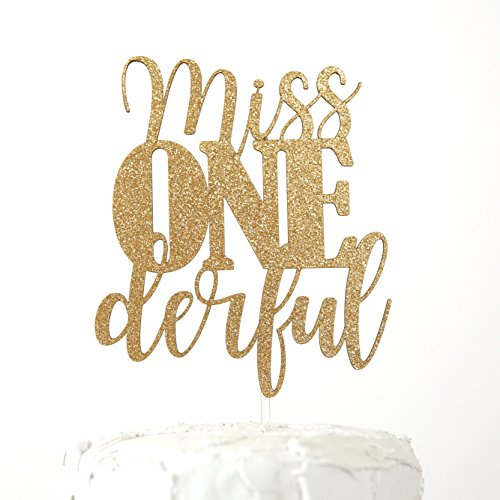 (NANASUKO 1st Birthday Cake Topper - Miss Onederful - Double Sided Gold Glitter - Premium Quality Made in)