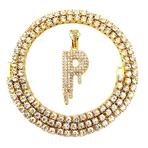 HH Bling Empire Iced Out Hip Hop Gold Faux Diamond Bubble Dripping Letter Tennis Chain Necklace 20 Inch (Dripping Letter P) - Iced Out Bling Pendant