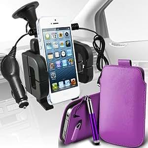 Sony Xperia S Lt26i premium protección PU ficha de extracción Slip In Pouch Pocket Cordón piel con lápiz óptico retráctil, un cargador de coche USB Micro 12v y universal de la succión del parabrisas del coche Vent sostenedor de la horquilla de la lila por Spyrox