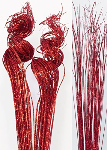 Green Floral Crafts 2 Ft Sparkle RED Curly Ting, Pk of Approx. 50 Stems & Red Sparkle Wispies (Red Centerpiece)