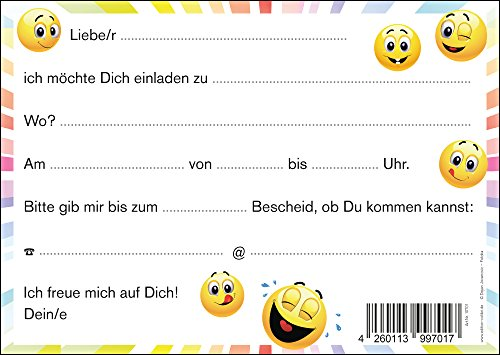 8 Er Set Lustige Smiley Emoji Einladungskarten Let S Have A Party