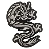 Dragon Myth Creature Iron on Patches Embroidered White
