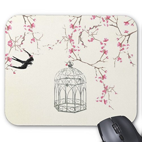 Price comparison product image UOOPOO Cherry Blossom, Bird, Birdcage - Original, Stylish Mouse Pad Rectangle Non-Slip Rubber Personalized Mousepad Gaming Mouse Pads 8.2 x 10.2 x 0.12 Inch(Pattern: Print)