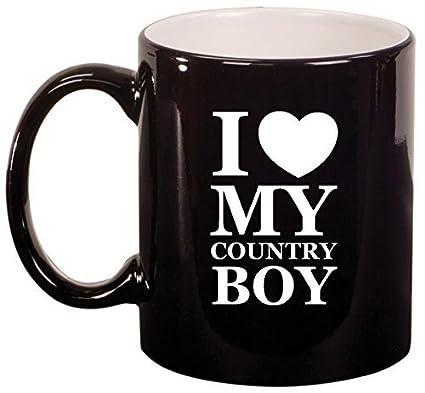 Amazoncom Ceramic Coffee Tea Mug I Love My Country Boy Black