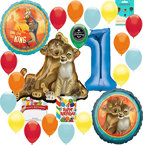 Lion King Party Supplies 1st Birthday Balloon Decoration Supply Bundle with Happy Birthday Card and 8 Treat Bags -
