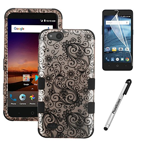 Phonelicious Rugged Series for Zte Avid 557 / Zte Zfive G C / Zte Blade Vantage / Zte Tempo Go Case - Military Grade Drop Tested with Clear Hd Screen Protector (Rose Gold Swirl)