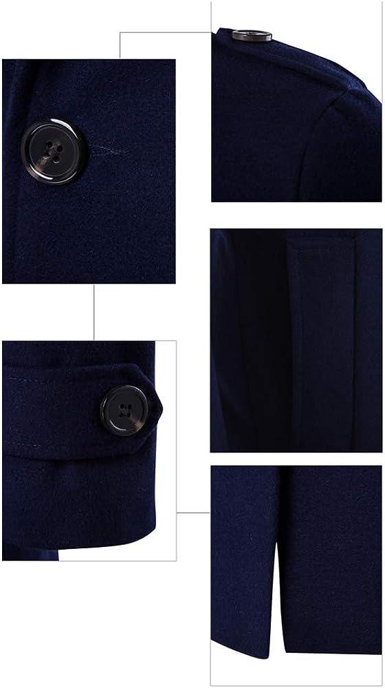 KINDOYO Cappotto Uomo - Capispalla Uomo Cappotto Slim Fit Doppiopetto Soprabito Invernale Blazer Blu