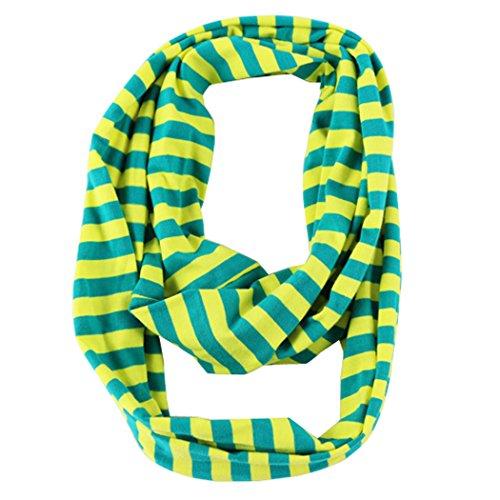 (Wennikids Children's Kids Knit Cotton Stripe Scarf Green Yellow)