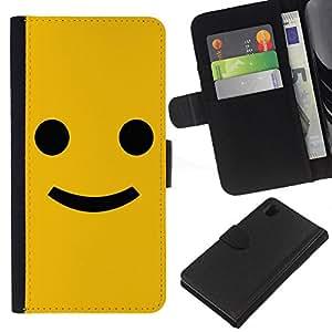 Planetar® Modelo colorido cuero carpeta tirón caso cubierta piel Holster Funda protección Para Sony Xperia Z1 / L39h / C6902 / C6903 ( Funny Happy Smile Smiley Face )