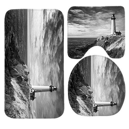 Pigeon Point Lighthouse in Infrared Bath Mat Set,3 Piece Bathroom Mats Set Non-Slip Bathroom Rugs/Contour Mat/Toilet Cover by TEYAYA
