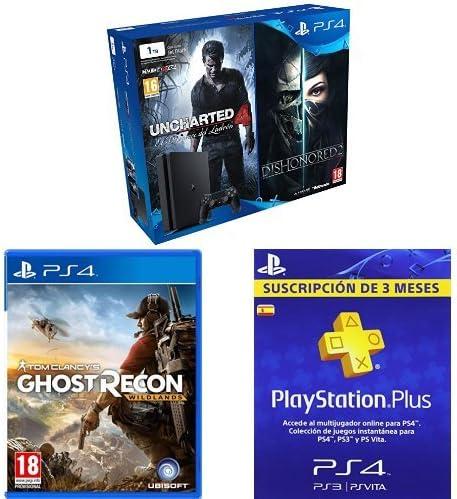 PlayStation 4 Slim (PS4) 1TB - Consola + Uncharted 4 + Dishonored 2 + Ghost Recon Wildlands + PSN Plus Tarjeta 90 Días: Amazon.es: Videojuegos