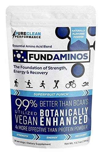 Essential Amino Acid Powder: FundAminos BAG (60 servings - 390G) - Essential Amino Acids Supplements, VEGAN, Great Tasting, Naturally Flavoured, Compare to MAP amino acids