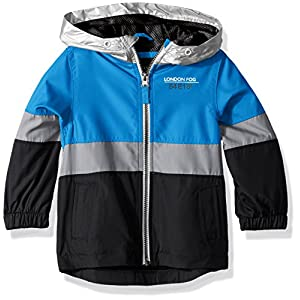London Fog Big Boys' Chest Stripe Poly Lined Jacket, Bold Blue, 10/12