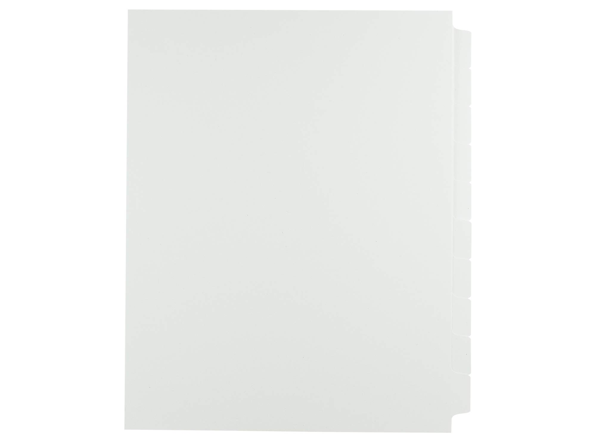AMZfiling Never-Jam Custom Blank Copier Tabs- 10 Tab Dividers, White, 1/10 Cut, Reverse Collated, Unpunched (1250/Carton)
