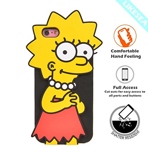 LIKESEA 3D Silicone Case for Apple iPhone 6 Plus/ iPhone 6s Plus (5.5 inches), Lovely Cartoon Soft TPU Gel Protective Cover with Shock-Absorption and Anti-Scratch, Lisa