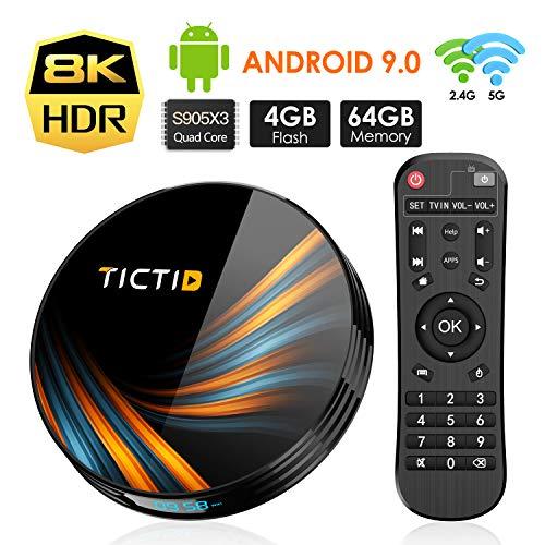 Android 9.0 TV Box 4GB RAM 64GB ROM, TICTID TX6 Plus Android TV Box S905X3 Quad-Core with 8K4K UHD H.265 1000M RJ45 Dual-WiFi 5G/2.4G, BT 4.0, USB 3.0 Smart TV Box