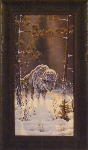 (Spirit Of Our Fathers by Rick Kelley 15x26 White Buffalo Framed Art Print Wall Décor Picture)