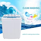ZOKOP Washing Machine,XPB46-RS4 13Lbs Semi-Automatic Twin Tube Washing Machine Compact Twin Tub Washer Machine White & Blue